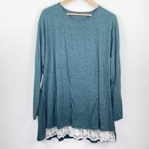 Green Blue Sweater Lace Trim Long Sleeve Tunic Top